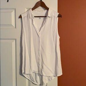 FEVER White Sleeveless Collar Button Shirt
